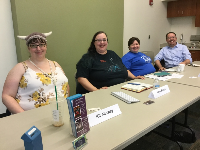 Kit Willihnganz, Nyla Bright, Stacey Clemence, and Jason Lady on NaNoWriMo panel