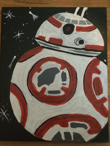 Very badly painted Star Wars BB8 druid on a childish night sky with comets and stars.