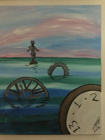 Picture of a poorly painted man in a top hat standing on a cog in a sea with other gears and a clock face.