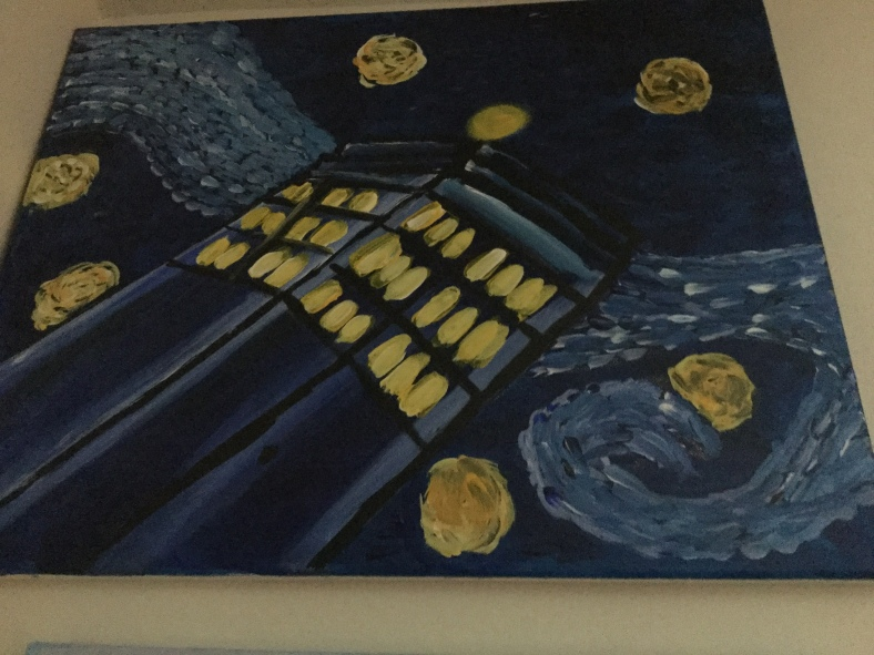 A painting of the Tardis from Doctor Who done badly like van Gogh' Starry Night.
