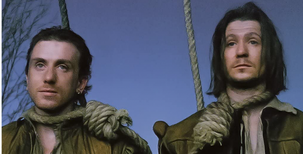 "Picture of Rosencrantz and Guildenstern from ""Search Results Web results Rosencrantz and Guildenstern Are Dead"" with nooses about their necks."