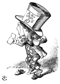 Drawing of the Mad Hatter from an old illistration of Alice in Wonderland