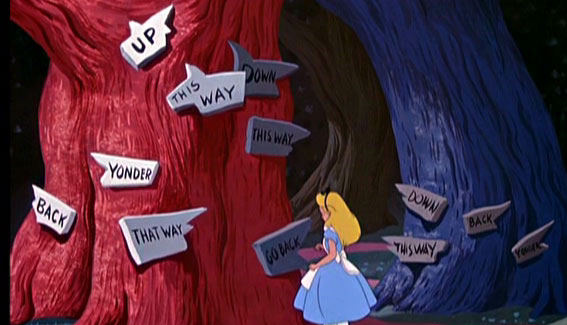 Picture of the signs in Tuggly wood from Disney's animated Alice in Wonderland movie