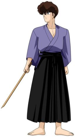 Kuno standing with a bamboo sword