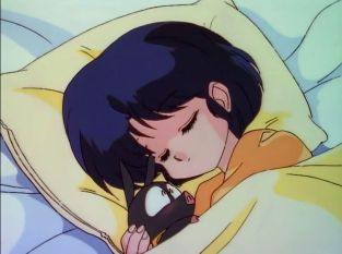 Akane sleeping with P-chan.