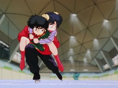 Ranma on ice skates carrying Akane on his back.